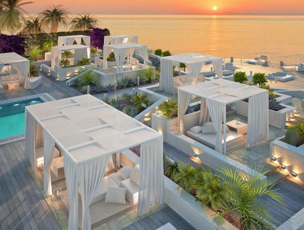 Aménagement de terrasse de restaurant avec pergolas en bord de mer