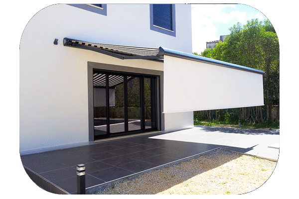 Store banne protection solaire pour terrasse ext rieure for Store banne lambrequin enroulable