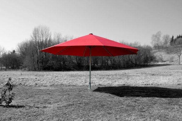 Parasol Facil de 7m de diamètre et couleur rouge