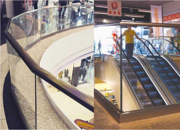 Garde corps en verre en espace public, galerie marchande (Type A10)