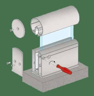 Vue éclatée garde corps en verre A10