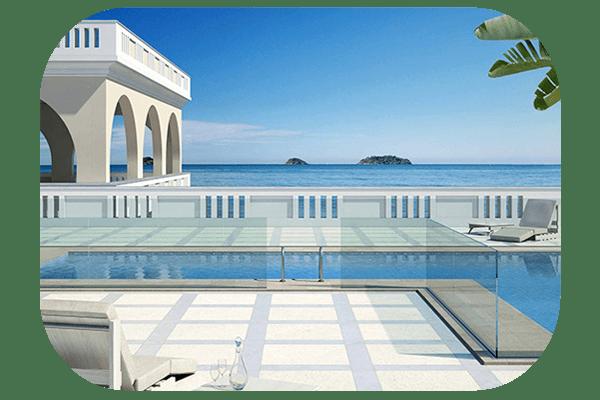 Garde corps en verre pour proctection de piscine