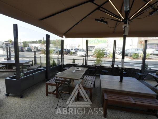 Paravents fixes glass wall et bacs jardilère